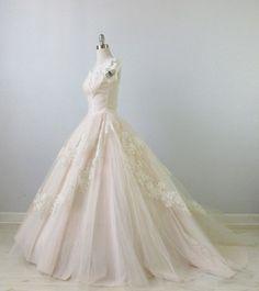 1950s Wedding Dress / Blush Pink Wedding by TheVintageMistress, $589.00