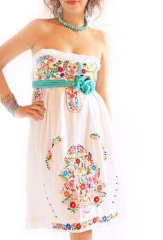 Alegria white Mexican embroidered bohemian strapless dress $150