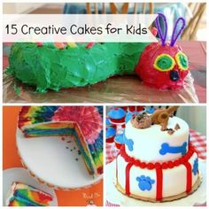 Have Your Cake: 15 Creative Cakes for Kids... I must do the train cake on a long painted plank - one carriage for each kid