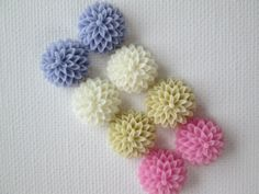 8PCS  Sampler Pack  Chrysanthemum Cabochons  15mm  by ZARDENIA, $4.00