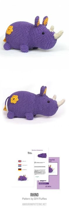 Purple Rhino Amigurumi Pattern for purchase