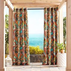 "Pier 1 Imports Vibrant Paisley 84"" Grommet Outdoor Curtain (£52) ❤ liked on Polyvore featuring home, outdoors, outdoor decor, pier 1 imports, outdoor patio decor, outside garden decor and outdoor garden decor"