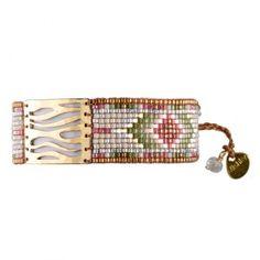 Bracelet manchette MISHKY WAVES petit modèle VERT PRUNE BEIGE DORE