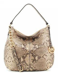 MICHAEL Michael Kors Uptown Astor Large Shoulder Bag Angora Python-embossed Leather