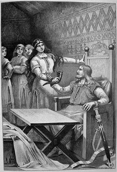 The engraving shows Sigrdrífa-Brynhildr bringing a drinking horn to Sigurðr. Three other women look on.    Jenny Nyström