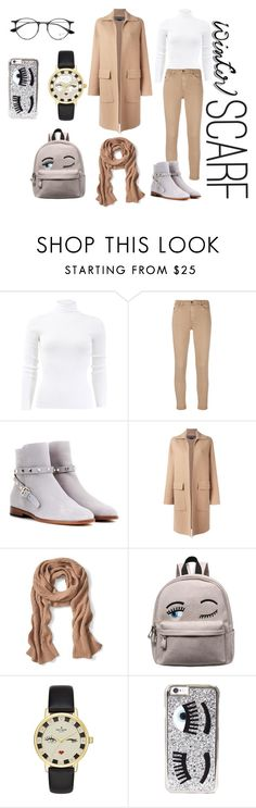 """""""warm in winter"""" by rennyliayustika on Polyvore featuring Michael Kors, AG Adriano Goldschmied, Valentino, Rochas, Banana Republic, Kate Spade, Chiara Ferragni, Ray-Ban, scarf and polyvorecontest"""