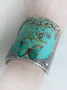 BELIEVE altered art cuff, inspirational decoupage butterfly cuff bracelet, free gift box
