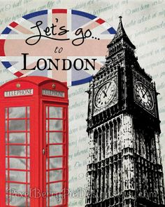 Let's Go To London 8x10 Printable Wall Art (Great gift idea!) British-Inspired Artwork (Digital File / Instant Download) by PixelBerryPieDesigns