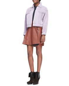 Shearling Denim-Style Jacket, Arc-Line Top & Leather Round-Fold Skirt by 3.1 Phillip Lim at Bergdorf Goodman.
