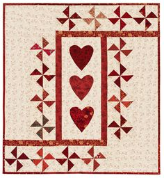 """""""Three of Hearts"""" pattern by Ellen Pahl; Pinwheel Party (Martingale Publishing)"""