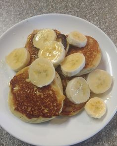 Paleo Almond flour pancakes topped with banana and honey  #Paleo #lowcarb #fitness #health #bbg #thefittlyssforce by fitfiyona.bbg