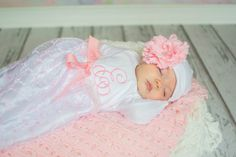 Sale -Sweet pink and white embroidered dainty take home gown Pink Lace, monogram, initial take home gown with tiara headband