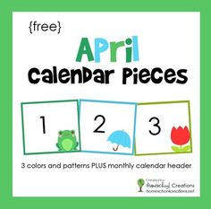 FREE printable: pocket chart calendar cards for the month of April. Includes 3 different pattern cards and colors with a free header.
