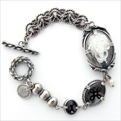 silver bracelet with handcarved shell cameo with mother of pearl. I love cameo jewelry.