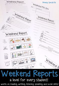 Monday morning lesson plan for the year? All while working on essential life and academic skills?! YES PLEASE!!! I love using these weekend reports with my students! 9 different reports included, one for every skill level.