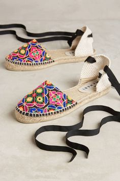 Manebi Embroidered Lace-Up Espadrilles