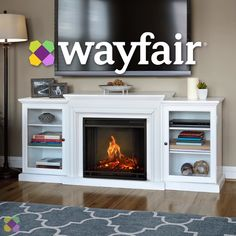 Real Flame Tracey Grand 84 in. Electric Fireplace TV Stand Entertainment Center in Distressed White Frederick 72 in. Freestanding Electric Fireplace TV Stand Entertainment Center in White Electric Fireplace Entertainment Center, Entertainment Fireplace, Entertainment Centers, White Electric Fireplace, Electric Fireplaces, Living Room Ideas Electric Fireplace, White Tv Stands, Faux Fireplace, Tv Stand With Fireplace