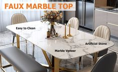 """Modern Rectangle 63"""" Faux Marble Dining Table Gold Base Stainless Steel - Dining Tables - Dining Room & Kitchen Furniture - Furniture Modern Dinning Table, Faux Marble Dining Table, Stainless Steel Dining Table, Dining Room Table, Dining Room Inspiration, Deco, Kitchen Furniture, Kitchen Design, Room Kitchen"""
