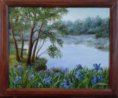 "Landscape Oil painting, oil on canvas, Handmade art ""Fresh morning""."