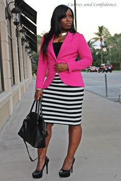 Curves and Confidence | Inspiring Curvy Women One Outfit At A Time: Outfitted For The Office like the way the stripes go all the way up to where the jkt buttons