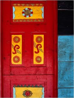 Detail of traditional carved door in Santa Eulalla, Guatemala. Photo by Jeffery Becom.