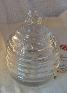 Vintage Honey Pot Clear Glass with Bees by misslillydawg on Etsy