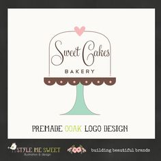 Logo Design Hand Drawn Premade OOAK Sweet Cake Stand with Text Inside Bakery Logo Never Resold. $75.00, via Etsy.