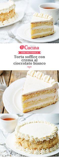 Torta soffice con crema al cioccolato bianco Soft cake with white chocolate cream Torta Ferrero Rocher, Cake Cookies, Cupcake Cakes, Torte Cake, Italian Desserts, Bakery Recipes, Pie Dessert, Chocolate Cream, Drip Cakes