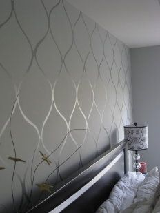 Flat paint, then glossy enamel in the same color create a subtle wallpaper-love what people are doing with the matte and glossy paint Glossy Paint, Bedroom Decor, Wall Decor, Master Bedroom, Bedroom Rustic, Wood Bedroom, Silver Bedroom, Industrial Bedroom, Master Bath