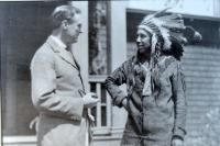 Franklin Delano Roosevelt in a conversation with Passamaquoddy Tribal Chief William Neptune around 1920. The Roosevelt's often vacationed on...