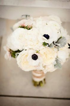 White peonies & anemones... love the flowers with the dark center for bridesmaids!!!!!!