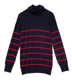 Band of Outsiders Navy & Red Striped Cashmere Turtleneck