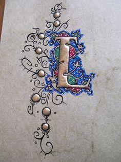 Alphabet Symbols, Alphabet Stamps, Alphabet Art, Letter Art, Calligraphy Letters Design, Calligraphy Fonts, Caligraphy, Illuminated Letters, Illuminated Manuscript
