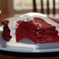 Red Velvet Pancakes with Cream Cheese Glaze Allrecipes.com. The reviews for this aren't all that great but pinning for the icing!