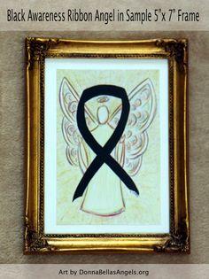 Melanoma Black Awareness Ribbon Skin Cancer Guardian Angel Art by AwarenessGallery