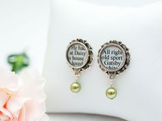 Great Gatsby Earrings  by CSLiteraryJewelry  Beautiful pearl earrings featuring text from The #GreatGatsby by F. Scott Fitzgerald - perfect for bookish brides, #literary #weddings