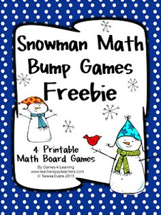 These Snowman Math Bump Games are perfect for some winter math fun!  Thereare games for addition, subtraction, multiplication and di...