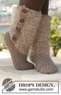 """Knitted slippers in 2 threads in """"Symphony"""" and """"Eskimo"""". (SYMPHONY from Garnstudio Colour no 01, off white: 100 g for all sizes Colour no 02, beige: 100g for all sizes And use: Super chunky, wool,, light beige: 100g, CIRCULAR NEEDLE SIZE 8mm (60 cm) [13 sts x 26 rows in garter st with 2 threads Symphony]  STRAIGHT NEEDLES SIZE 6mm [13 sts x 26 rows in garter st with 1 thread Eskimo]. WOOD BUTTON COCONUT, 8 pieces)"""