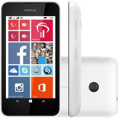 Smartphone Nokia Lumia 530 Desbloqueado Branco, Dual Chip, Windows Phone 8.1, 3G, WiFi, Câmera 5MP, Memória Interna 4GB, Processador Quad Core 1.2GHz, GPS