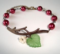 Burgundy Pearls and Flower Branch Antique Bracelet by RibbonGlory, $13.95