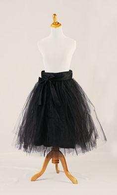 Black Tulle Knee Length Skirt