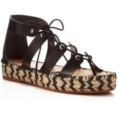 Loeffler Randall Ghillie Lace Up Flatform Espadrille Sandals found on Polyvore featuring shoes, sandals, black, flatform sandals, platform espadrilles, black strappy sandals, lace-up sandals and boho sandals