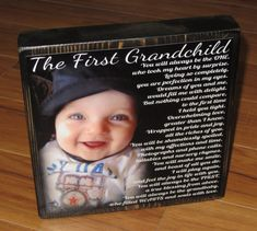 First Grandchild Poem Block- XL Personalized Photo Blocks- Custom made to order with poem quote or scripture