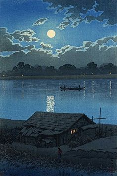 "Japanese Art Print ""Moon on the Arakawa River in Akabane"" from the Series ""Twenty Scenes of Tokyo"" by Kawase Hasui  http://www.amazon.com/dp/B00YUATCI2/ref=cm_sw_r_pi_dp_Jvuswb0MZG1TN"