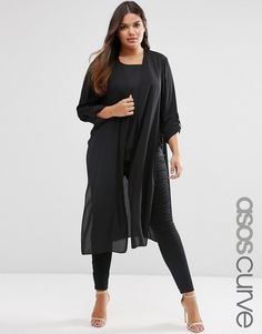 Image 1 of ASOS CURVE Maxi Kimono with Side Splits