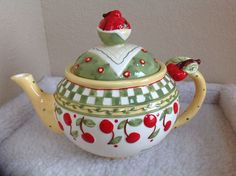 Mary Engelbreit Cherries Jubilee Teapot...Adorable! In my collection...