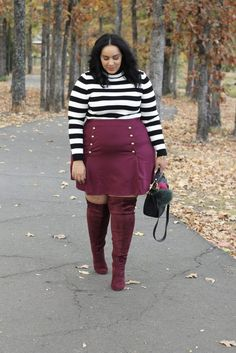 3 Plus Size Thanksgiving Looks You Can Wear This Year | Plus Size Outfit Idea | Plus Size Fashion | Fall Style | Burgundy Skirt and Boots