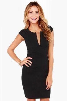 LBD: Black V Neck Short Sleeve Slim Bodycon Dress