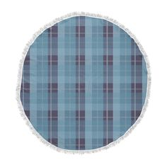 """afe images """"Blue Plaid Pattern II"""" Blue Multicolor Illustration Round Beach Towel Blanket from KESS InHouse. Made of 100% polyester, these towels are machine washable and water absorbent, keeping you and your area dry. With a hand sewn fringe, this will become your go to item for every outdoor activity. Measuring 60"""" in diameter, the top is soft and fluffy, making a perfect surface to play, sit, and lounge."""