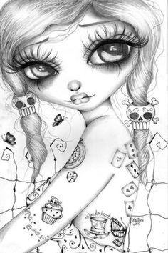 Wonderland by Dottie Gleason Girly Art work Canvas Artwork Print — Coloring. Canvas Artwork, Artwork Prints, Canvas Art Prints, Girly Tattoos, Eye Art, Coloring Book Pages, Skull Art, Girl Skull, Sugar Skull Girl